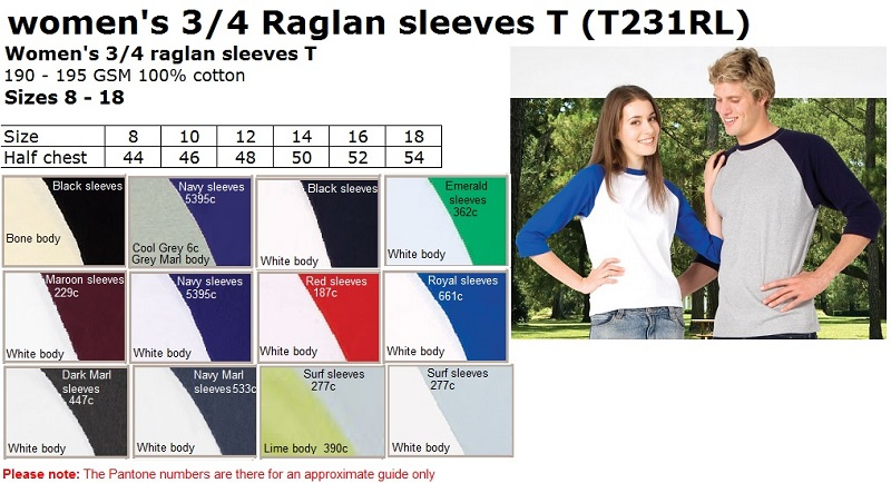Lady 3 Qtr Raglan sleeves