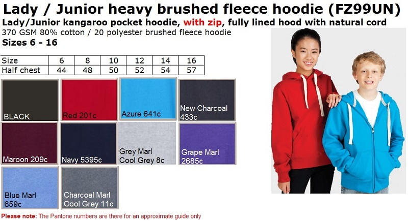 Lady Junior Super Heavy Hoodie WITH zip