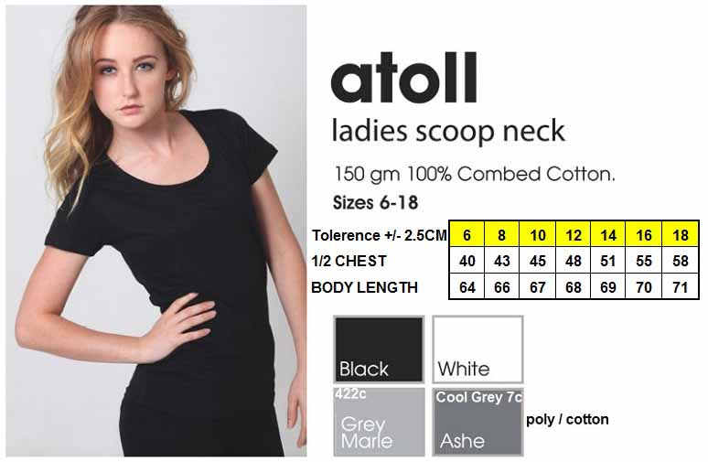 new atoll ladies scoop neck tshirt
