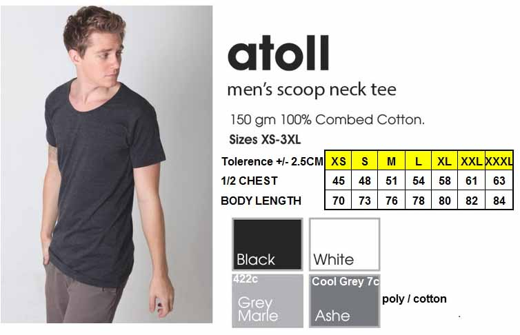 new atoll mens scoop tshirt