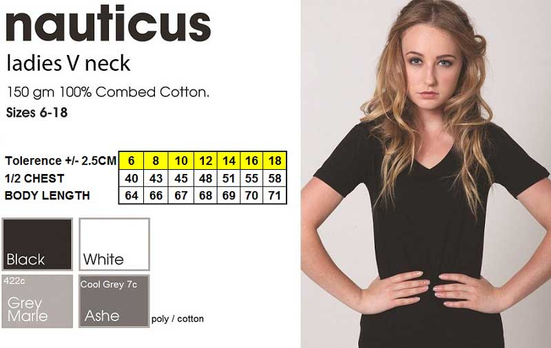 new nauticus ladies V neck tshirt
