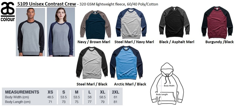Men & Women 5109 Contrast Crew