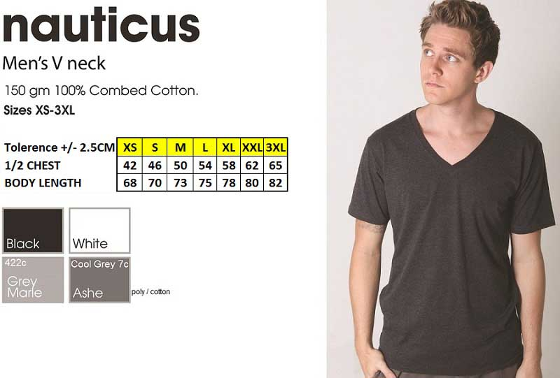 New Nauticus Mens V neck tshirt